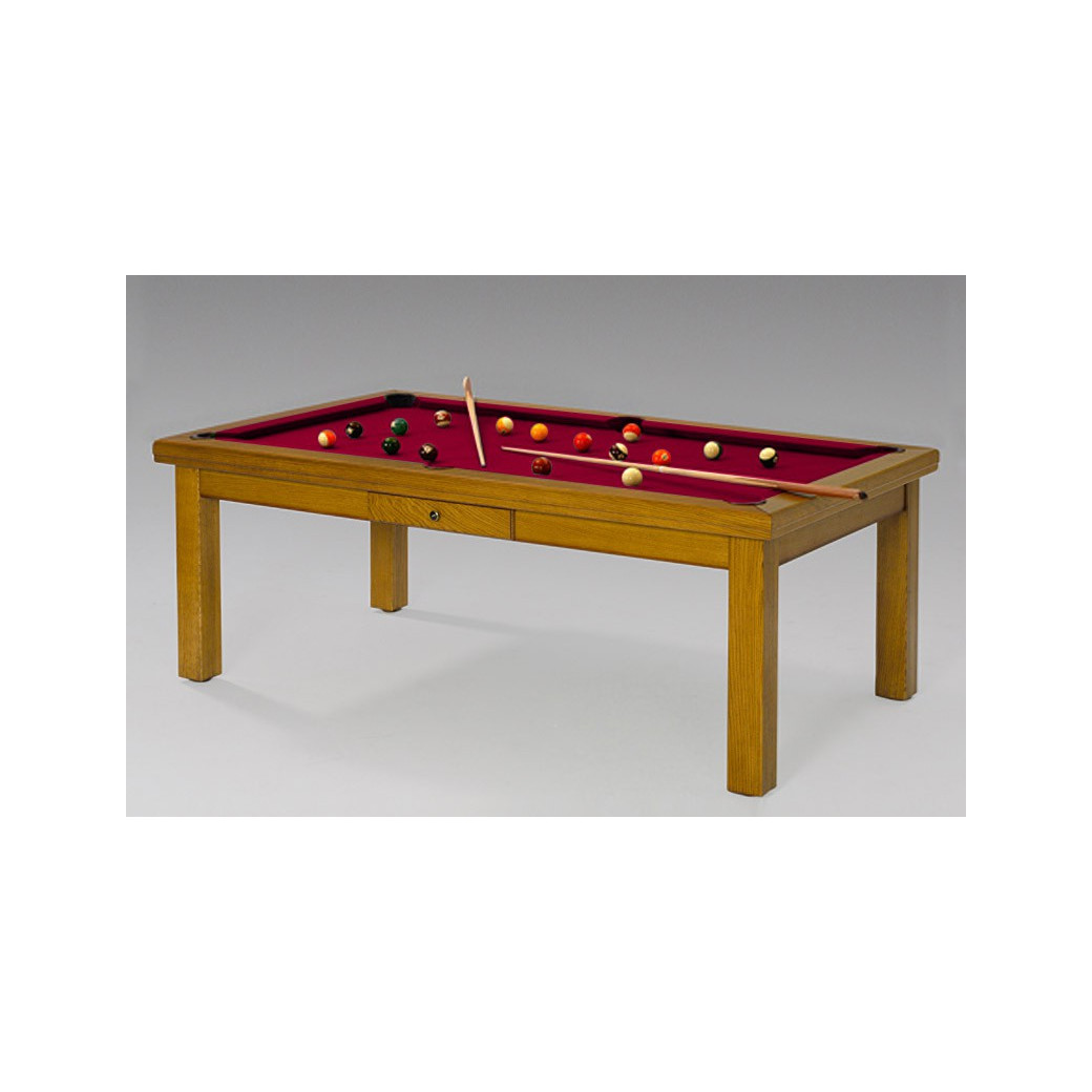 Table de billard transformable, et son tapis bordeaux couleur vin