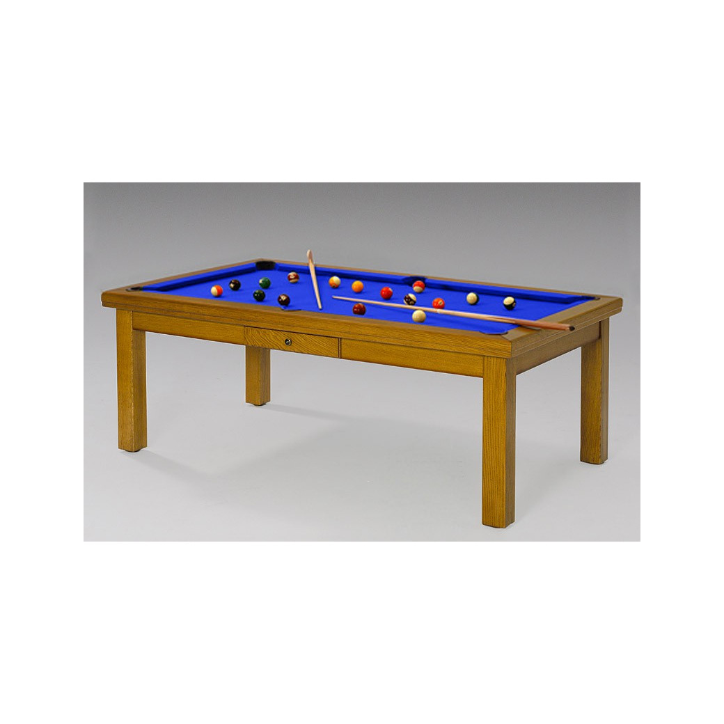 Billard table convertible, tapis bleu royal luxieux