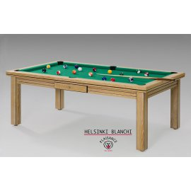 Pool table convertible, vert jaune pour le tapis et bois clair pour la table
