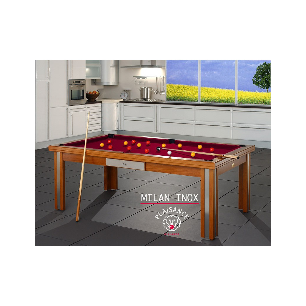 Table billard convertible table a manger, et son tapis billard bordeaux couleur vin rouge