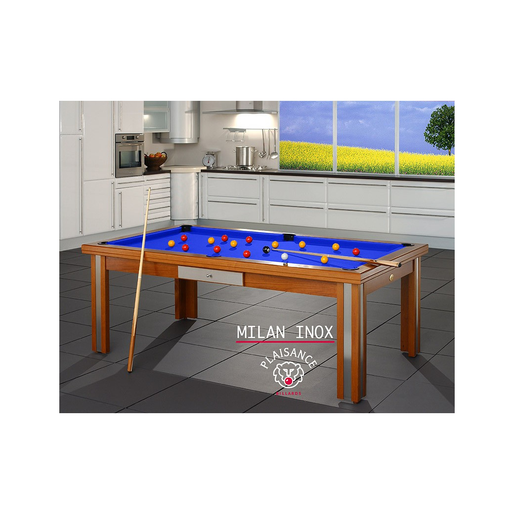 Table de billard convertible table a manger, tapis bleu royal de grande qualité