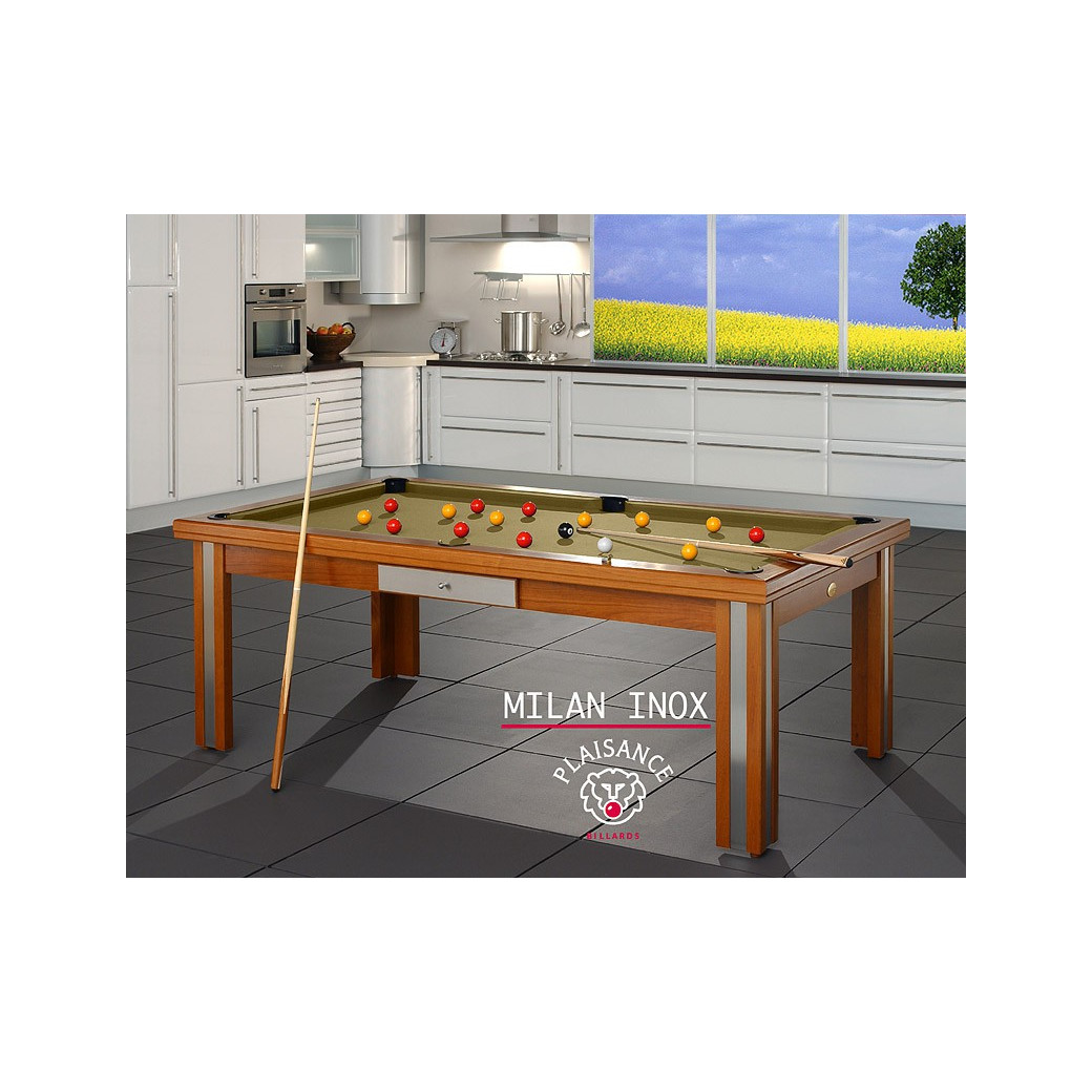 Table de salle a manger transformable en billard, tapis gold pour un jeu en or