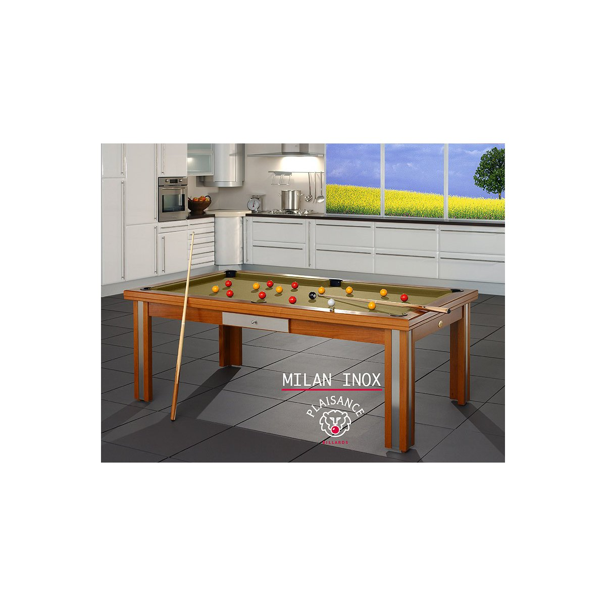 Billard table a manger milan inox for Table de billard transformable en table de salle a manger
