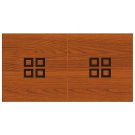 Table billard convertible, le plateau en bois merisier foncé avec carrés noir