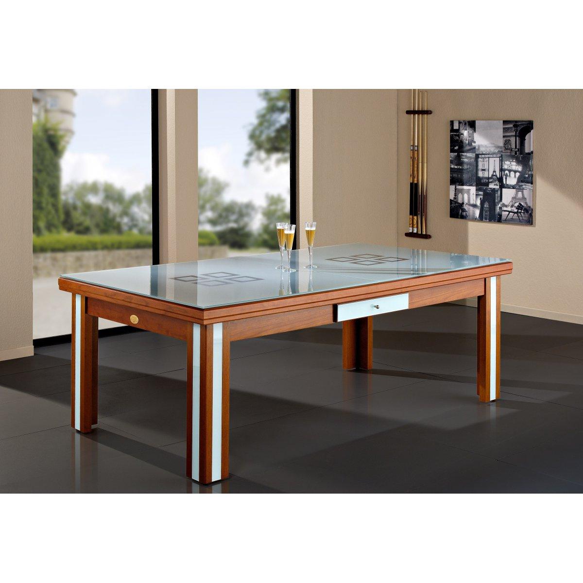 Table Billard Convertible Milan Verre