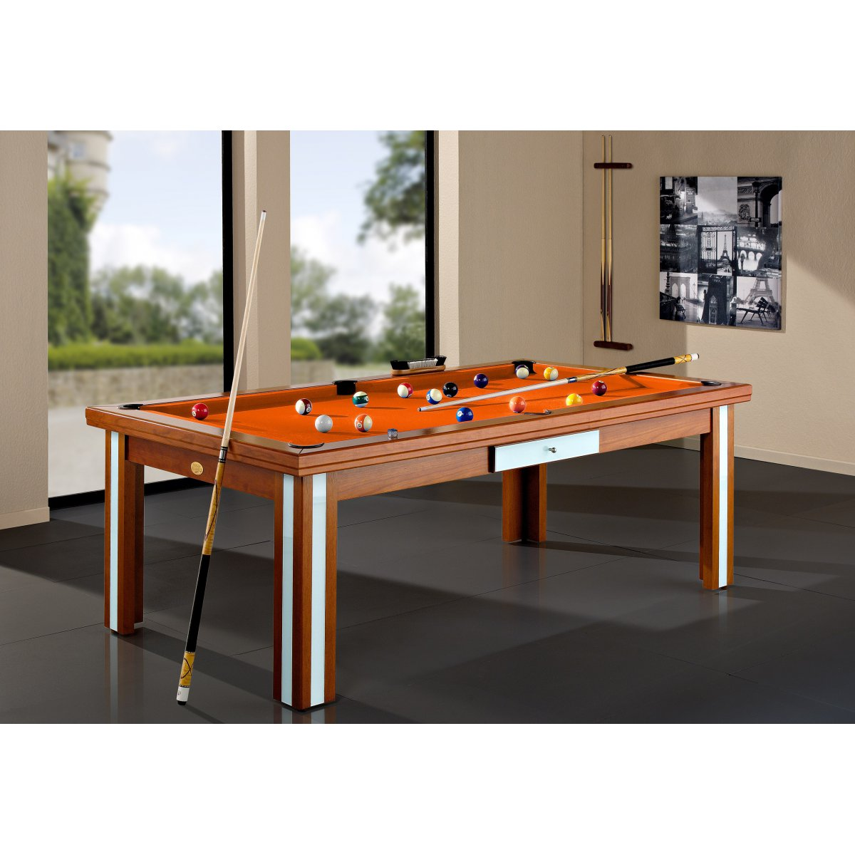 Table Billard Convertible Milan Verre