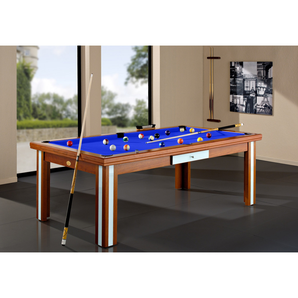 Table a manger billard design, table haut de gamme avec tapis bleu royal