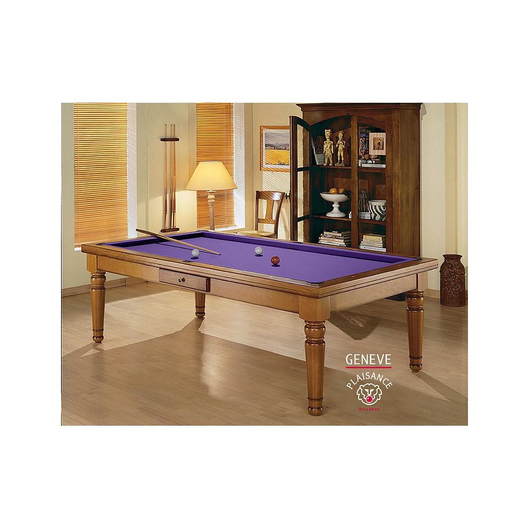 Table billard transformable, avec tapis violet haut de gamme