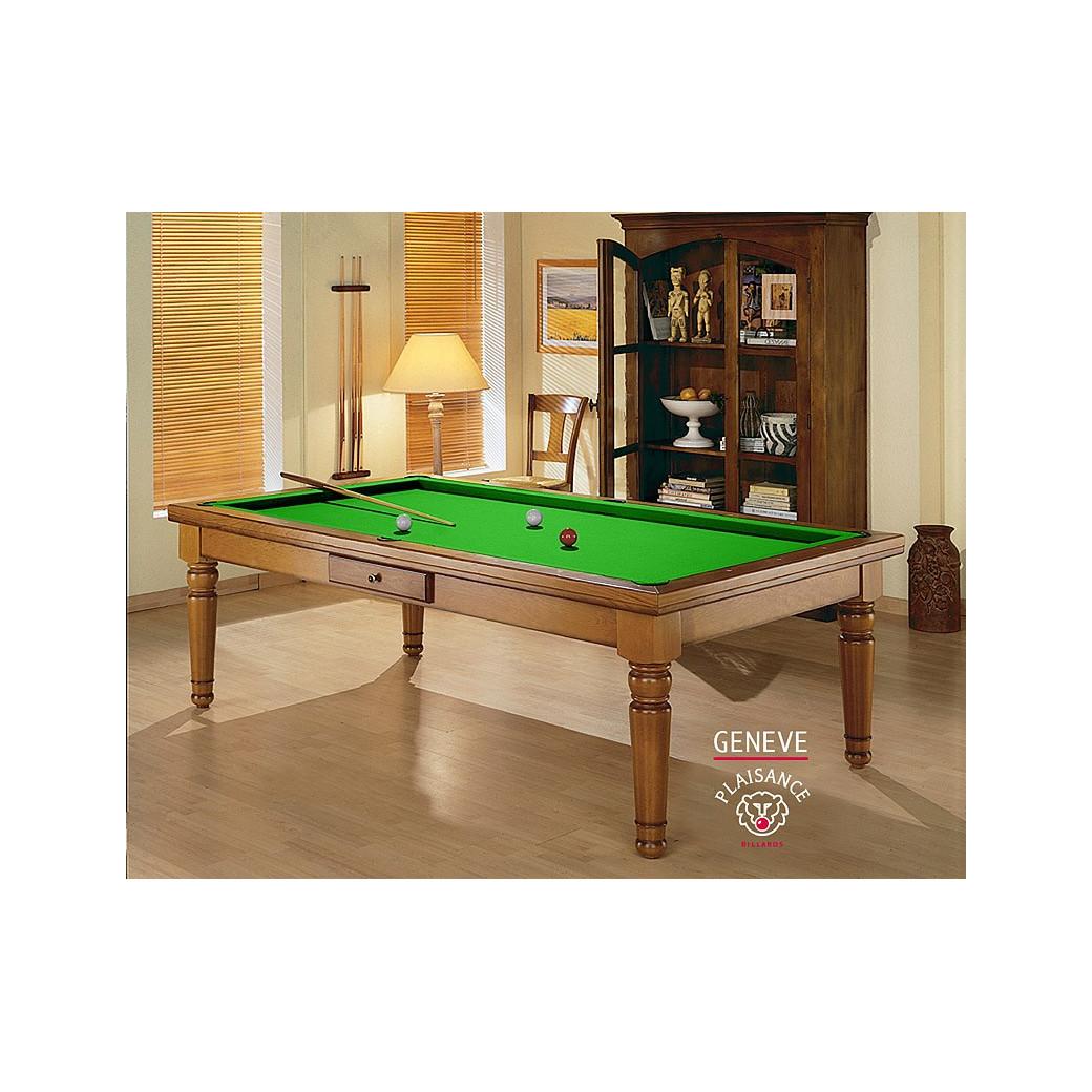 Billard dinatoire, la table convertible avec tapis vert pomme