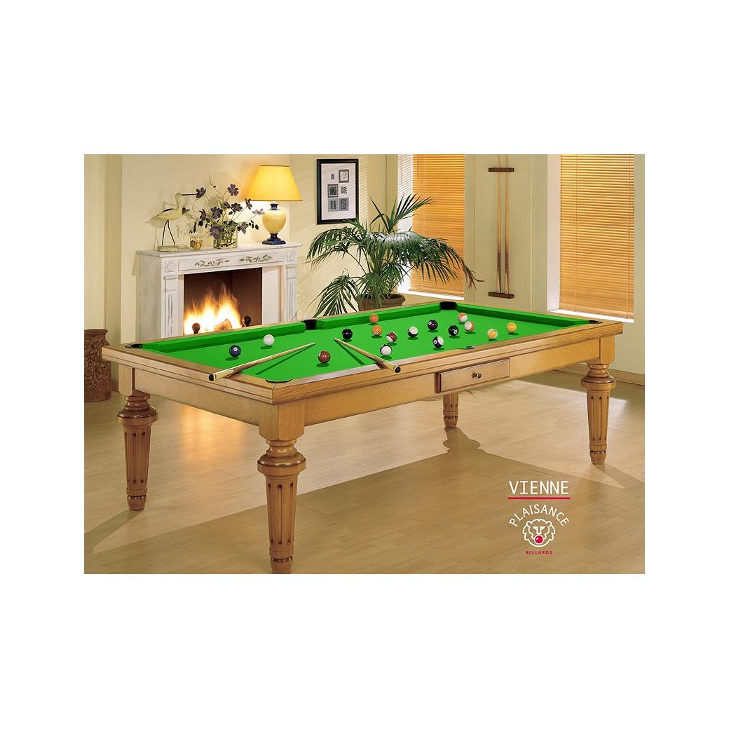 Table billard, en bois avec drap Simonis vert pomme