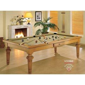 Billard avec plateau, table en bois et tapis de billard gold (or)
