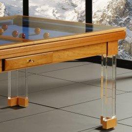 Billard table, gros plan sur la table en verre du billard convertible