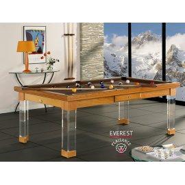 Billard transformable en table, fabriqué avec un tapis couleur chocolat