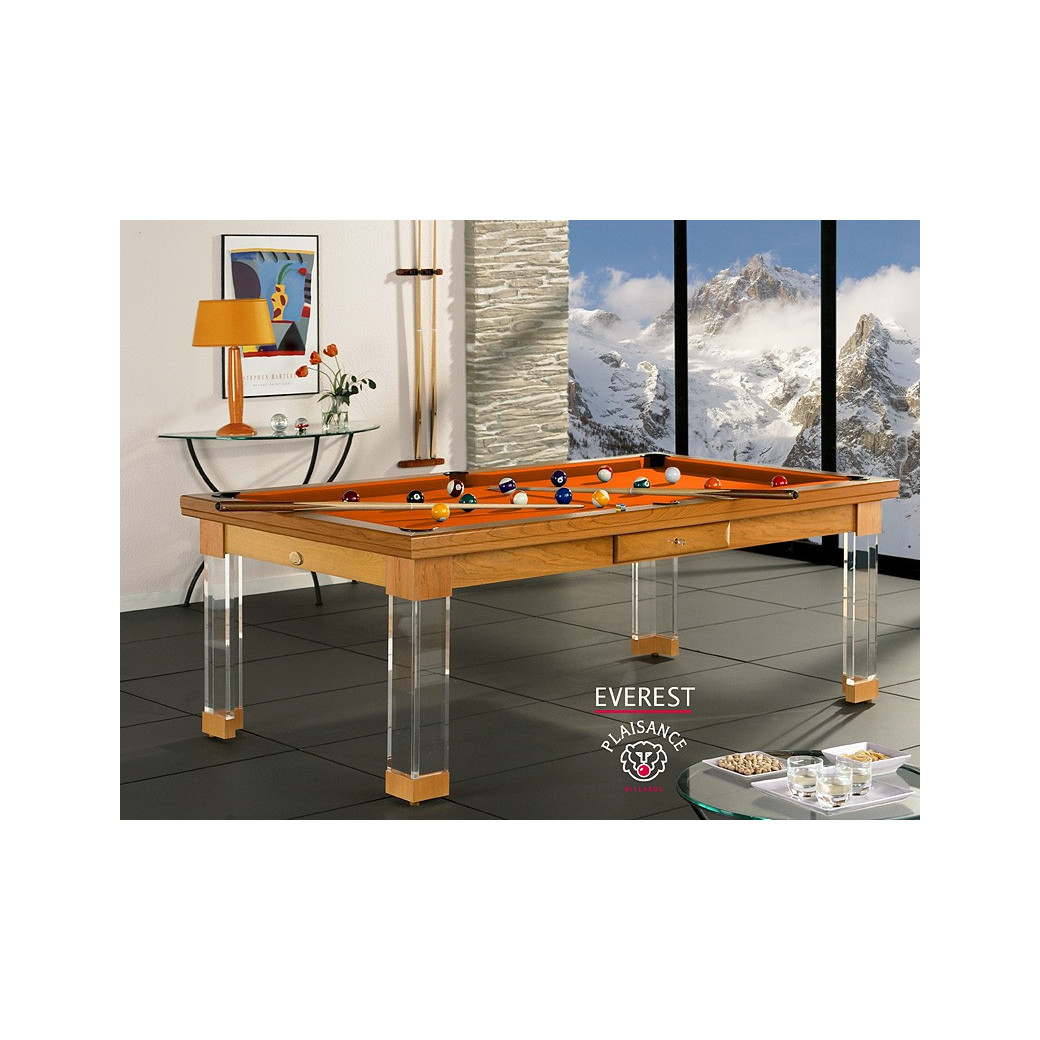Table de billard de luxe, châssis en bois massif et tapis orange design