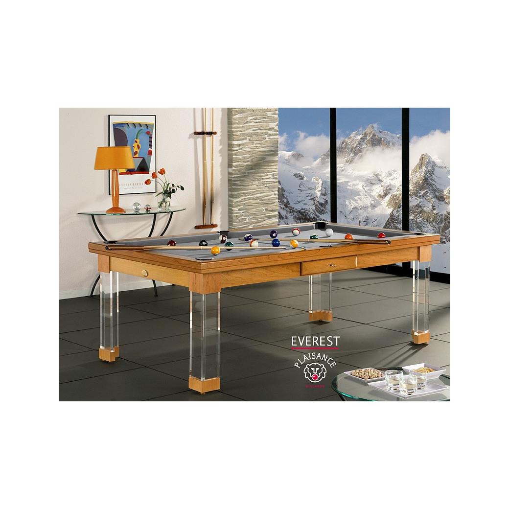 Billard table à manger, table en bois et tapis gris moderne