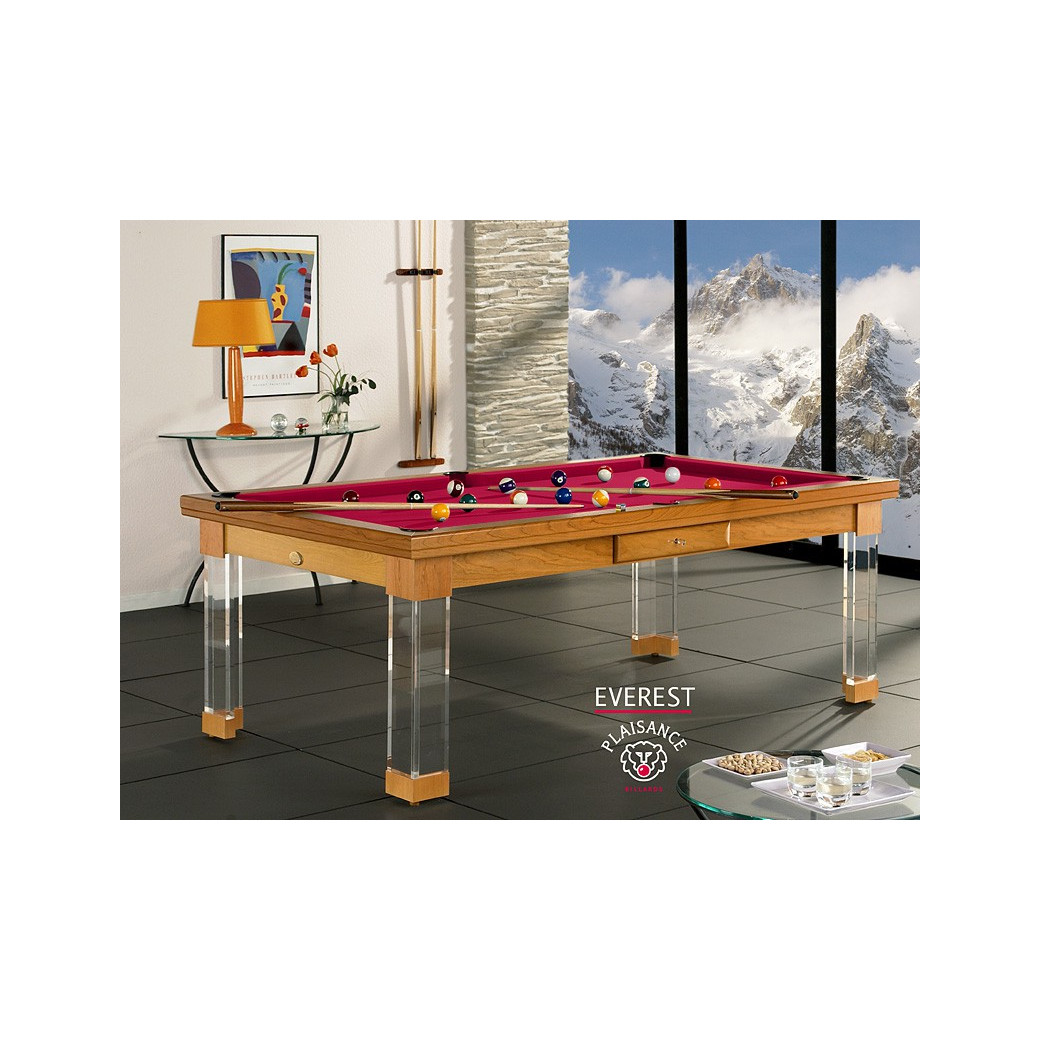 Billard convertible table, tapis rouge star de luxe