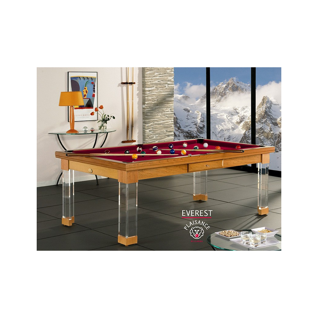 Billard bordeaux, table billard convertible et son tapis couleur vin rouge