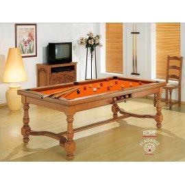 Billard design, avec table convertible et tapis orange couleur tonifiante