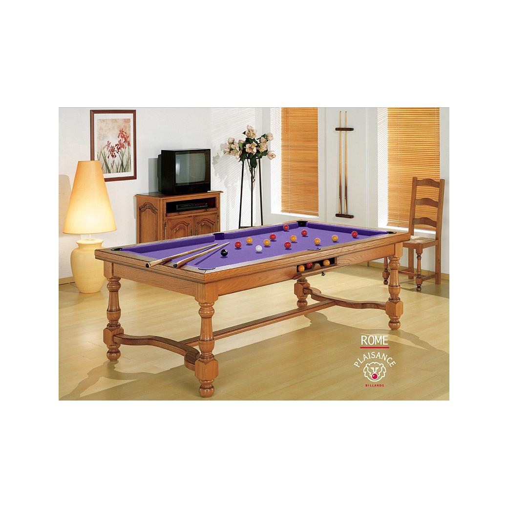 Billard americain transformable table, tapis violet : couleur de la douceur et du rêve