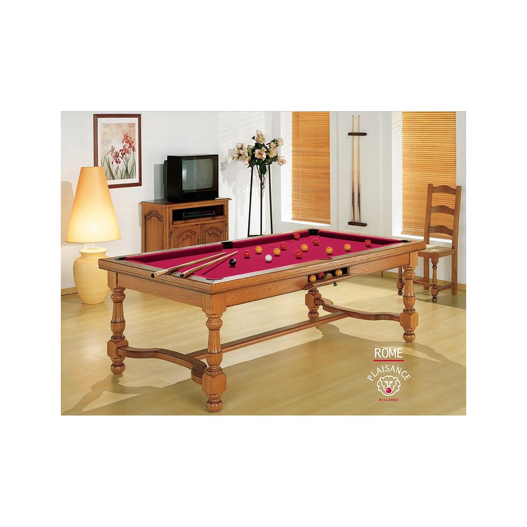 Table de billard et table a manger, tapis Simonis rouge : couleur énergétique et dynamisant
