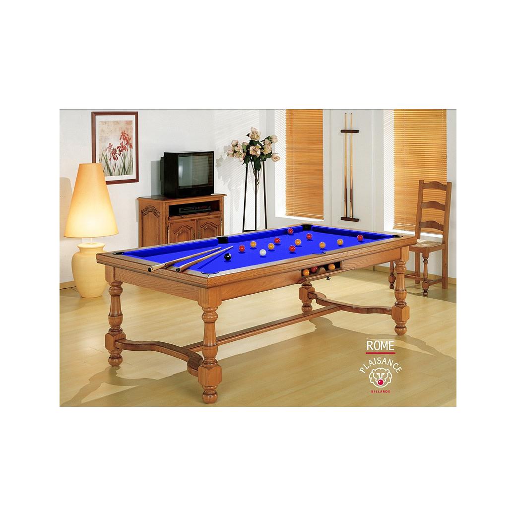 Billard transformable en table, tapis bleu pool (lier au liée au rêve et à la sagesse)