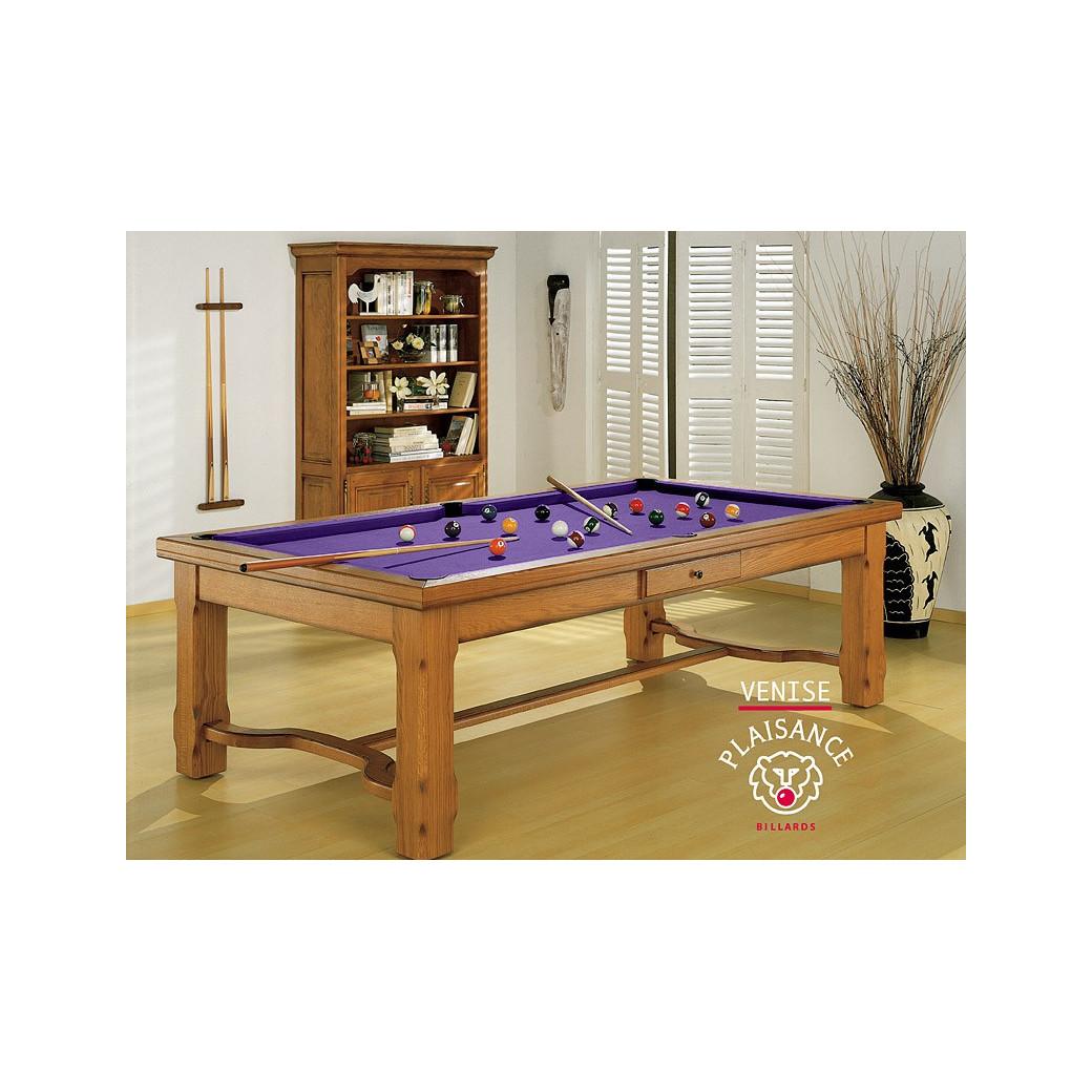 Billard : chassis et pieds en bois massifs et tapis de billard violet moderne