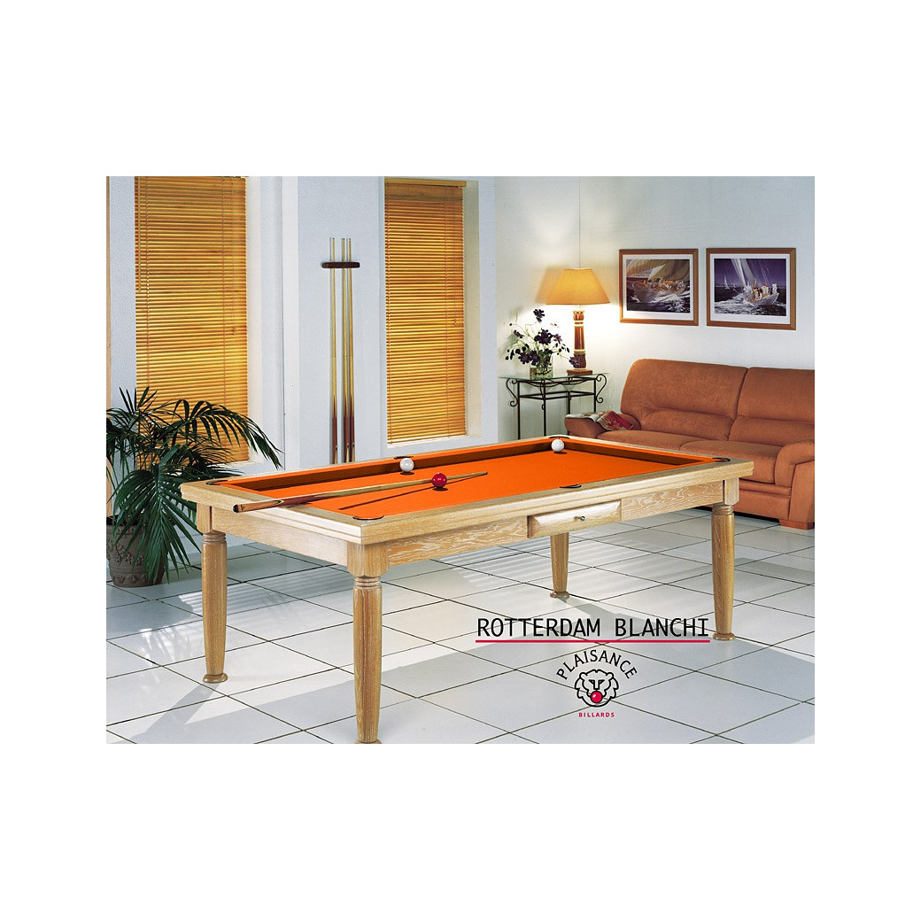 Table a manger billard, et son tapis Simonis orange moderne