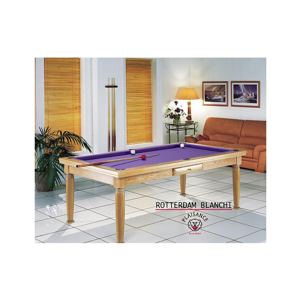 Table salle a manger billard, tapis de jeu violet moderne