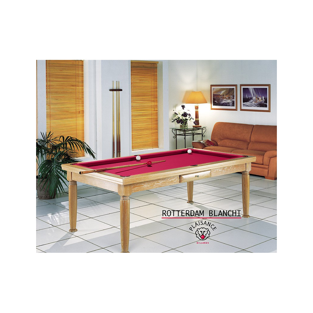Billard convertible, tapis rouge couleur star