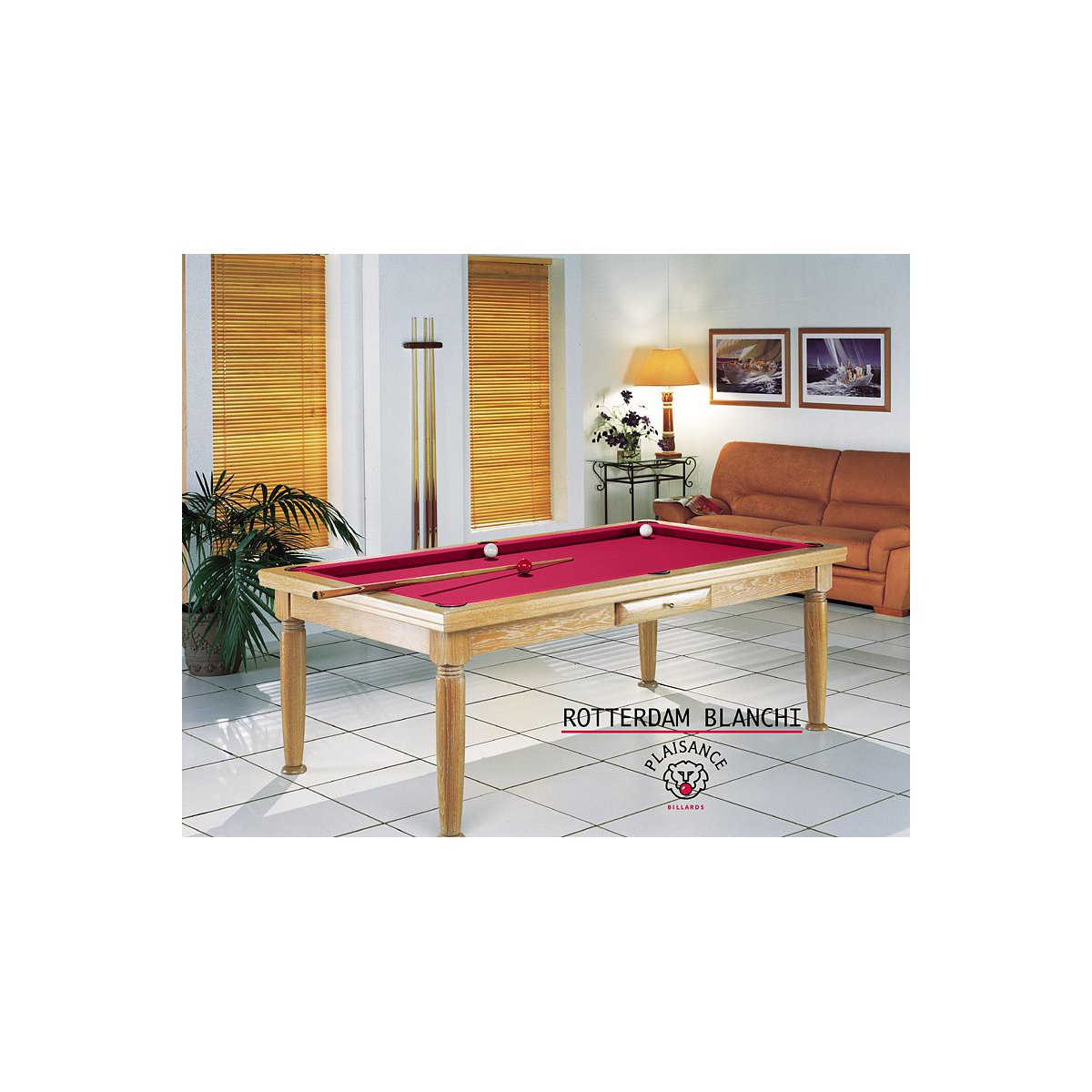 Table salle a manger rouge for Table a manger billard