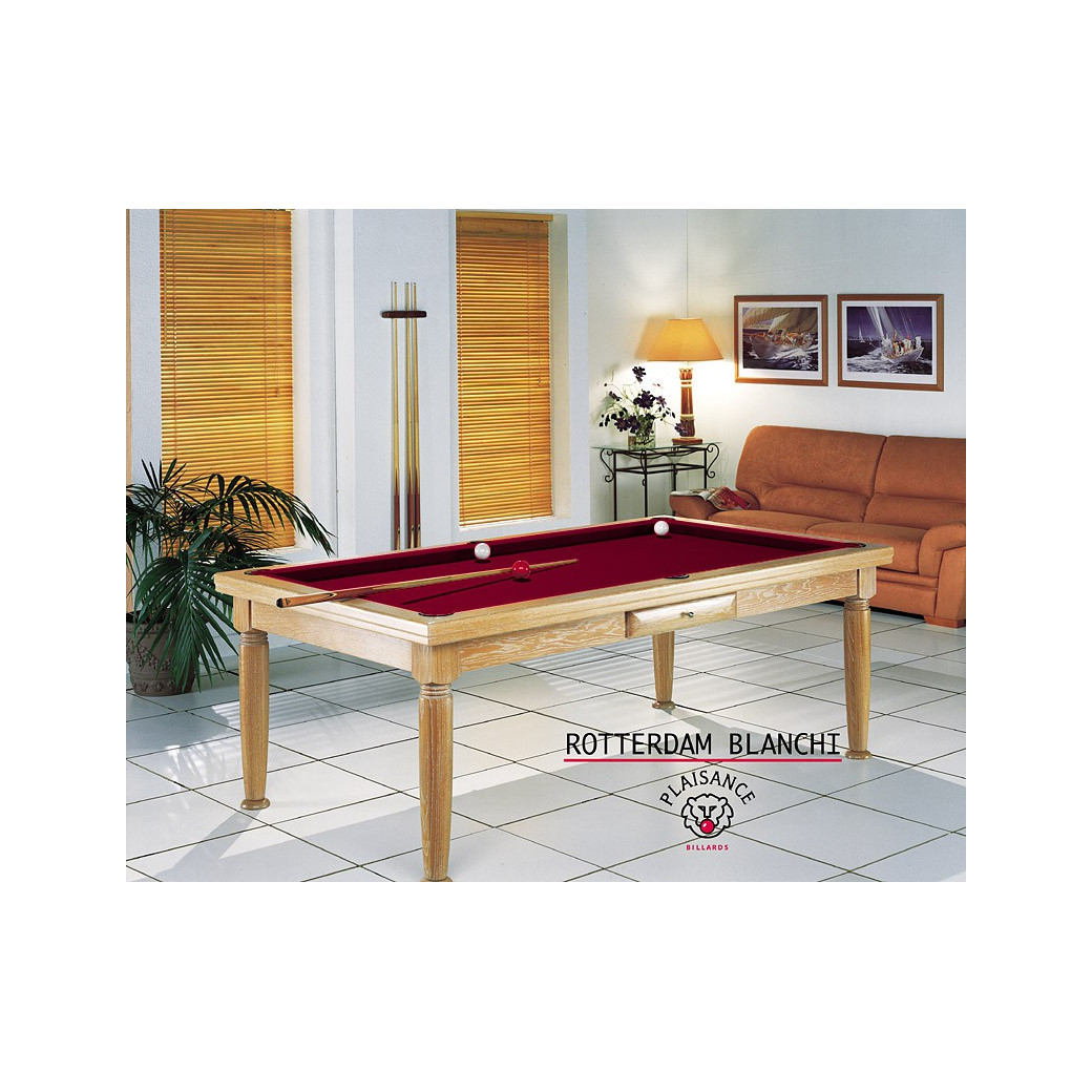 Billard transformable, tapis bordeaux couleur vin rouge