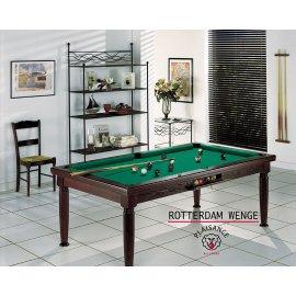 Billard table a manger design, table noire et tapis vert jaune pour jouer au billard