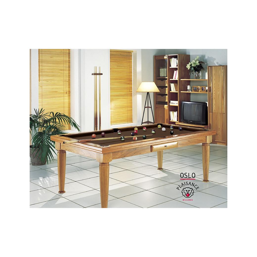 Jeux de billard, avec tapis couleur chocolat pour table transformable