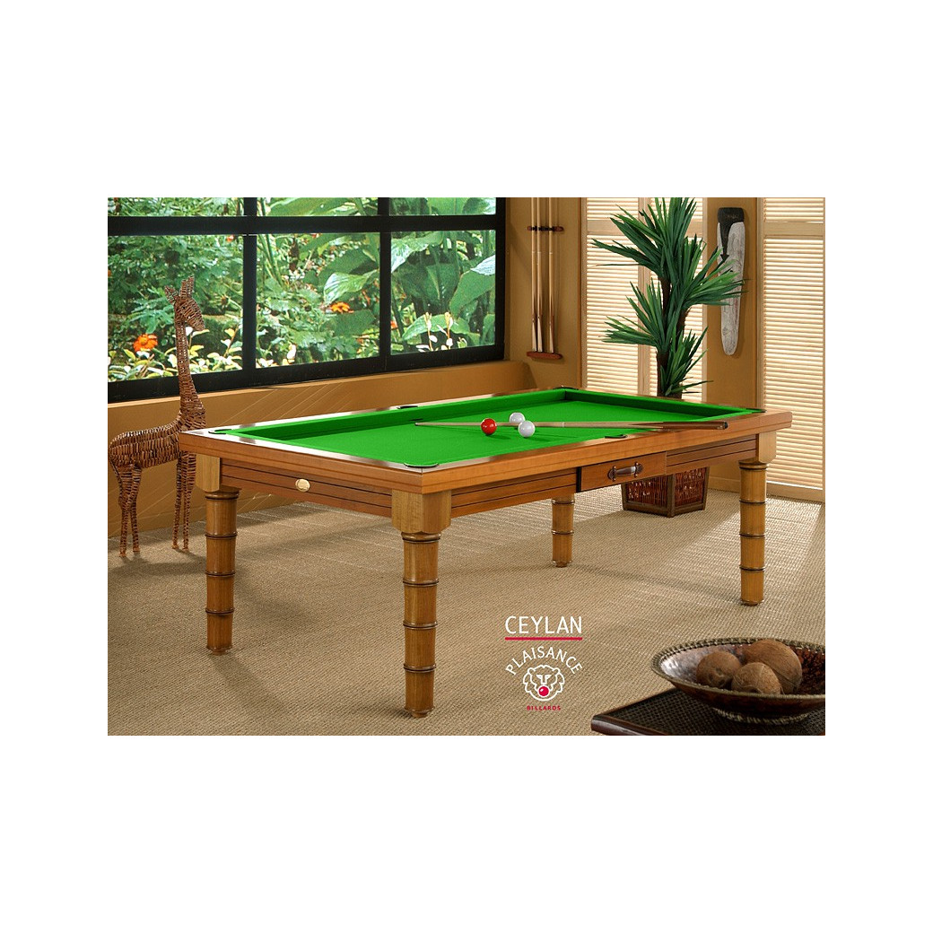 Table de billard convertible table a manger, tapis de jeu vert pomme