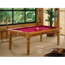Billard de salon, cadre bois merisier et tapis rouge
