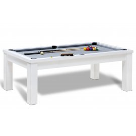 Billard contemporain, table blanche et tapis gris