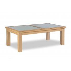 Table billard transformable, et dessus table en bois et verre