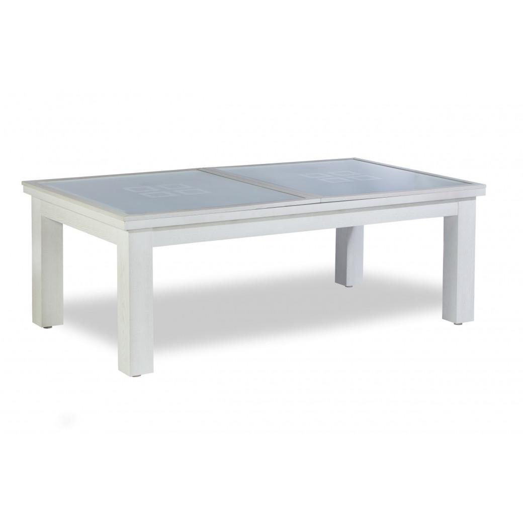 Table billard convertible table a manger, plateau bois et verre