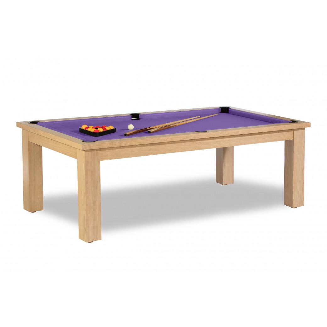 Billard table, table bois et billard violet lumineux