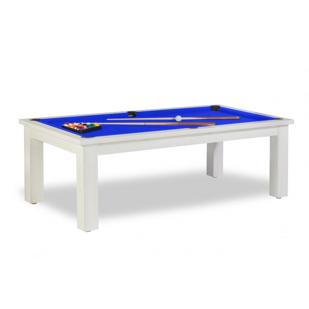 Billard convertible en table, tapis de jeu bleu royal