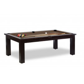 Table transformable en billard, couleur du tapis de jeu chocolat