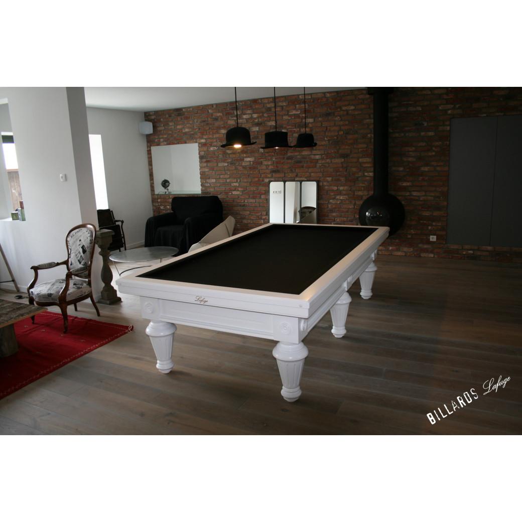 Billard carambole blanc en 2m80 convertible en table