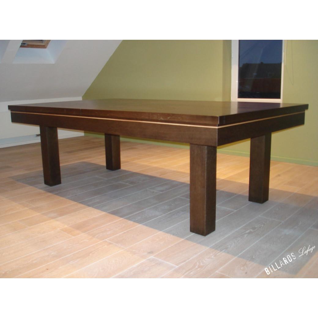 Table billard convertible, chêne wengé et plateau table