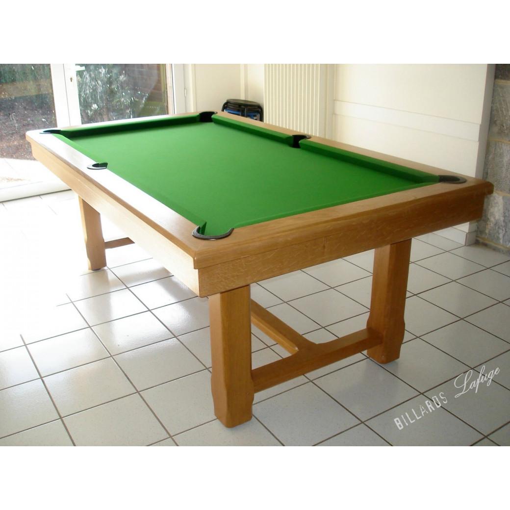 Billard rustique, en chêne naturel et convertible en table