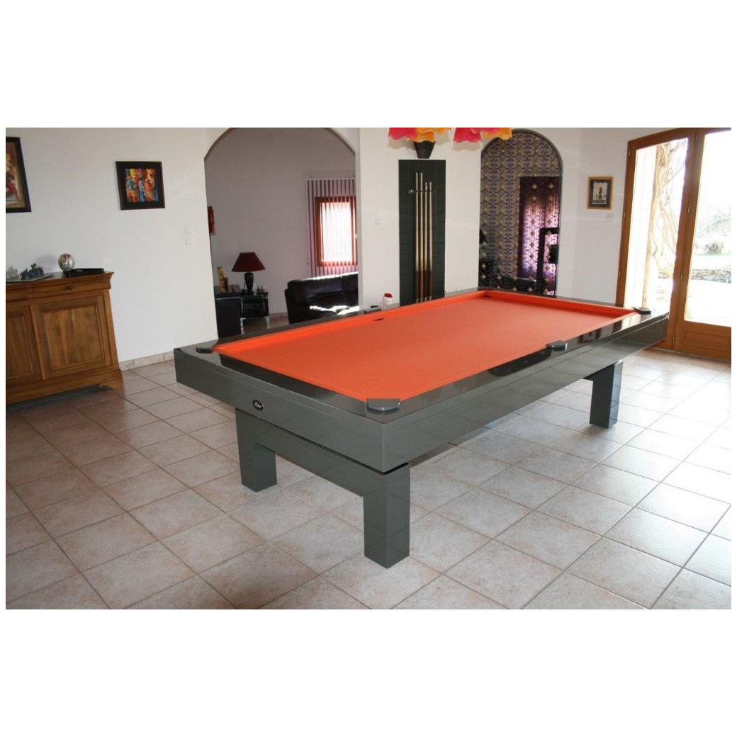 Table billard convertible, avec tapis orange