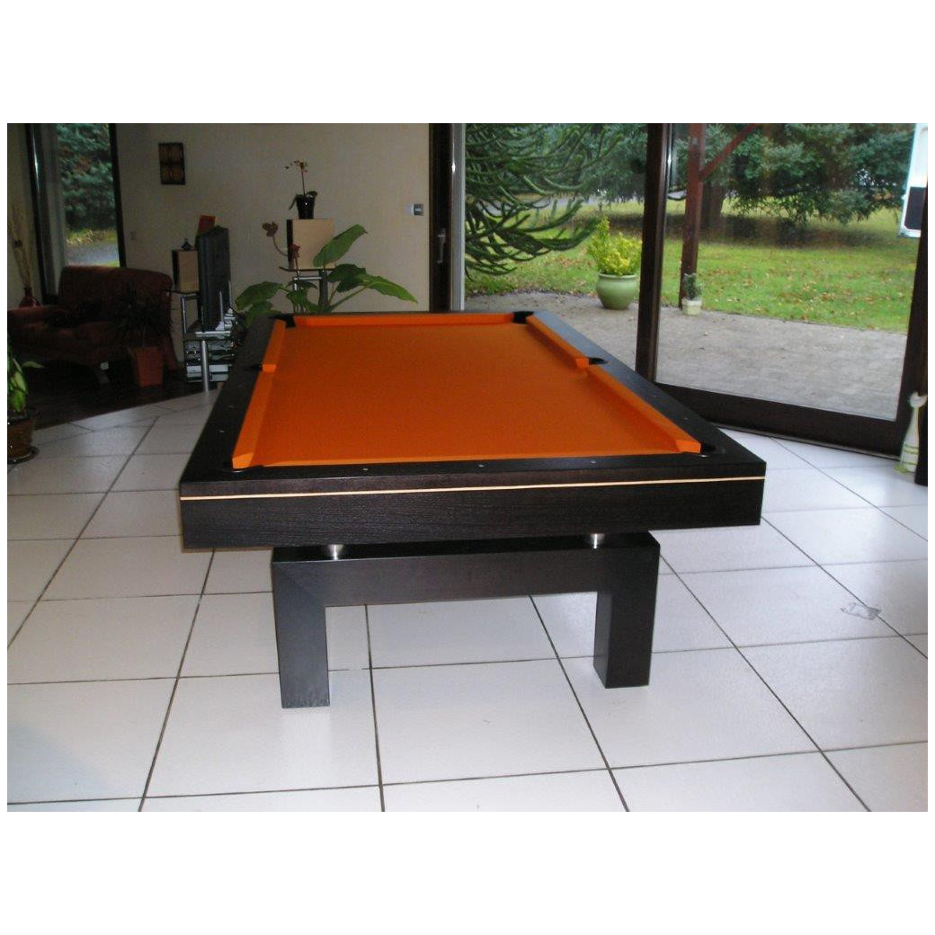 Billard en 2m60, Arcade wengé et drap orange