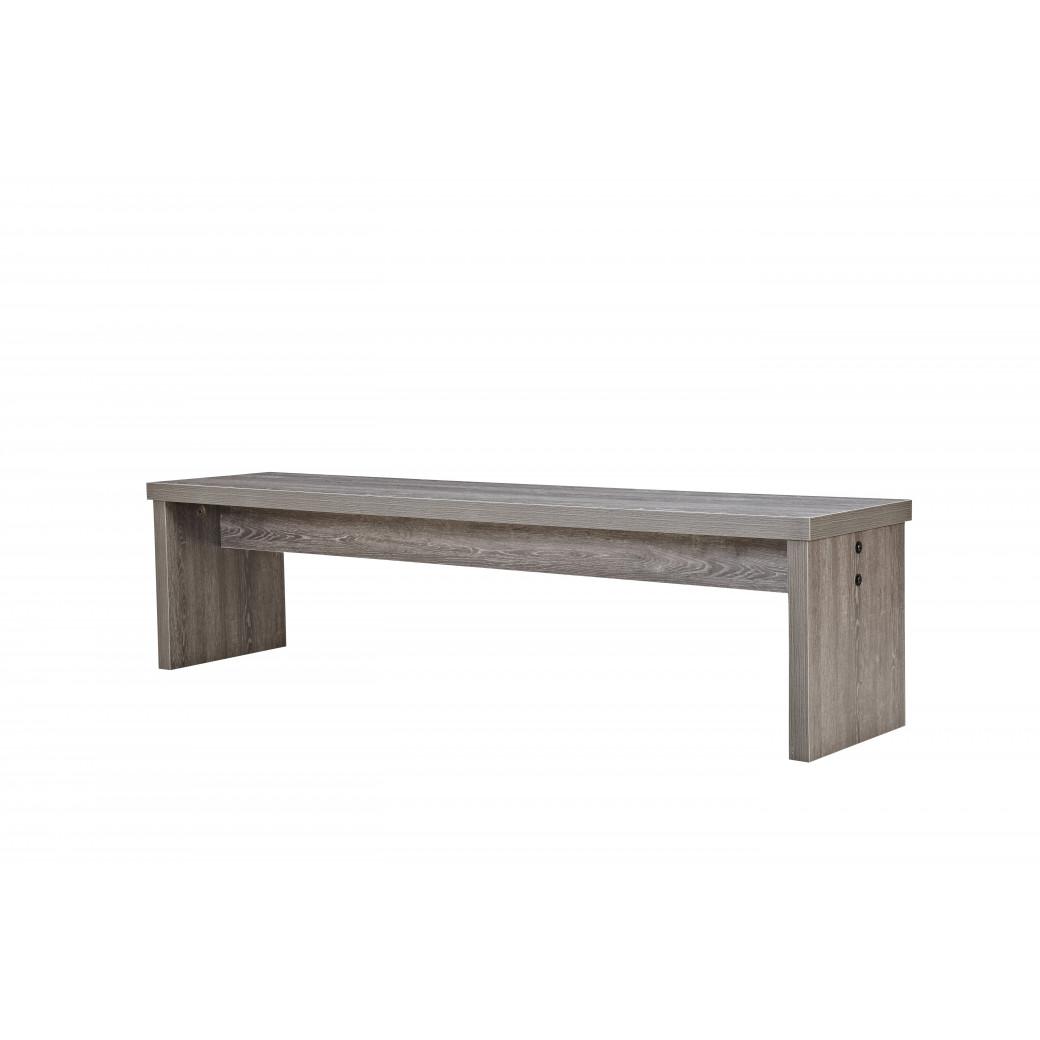 Banc en bois gris pour table avec billard