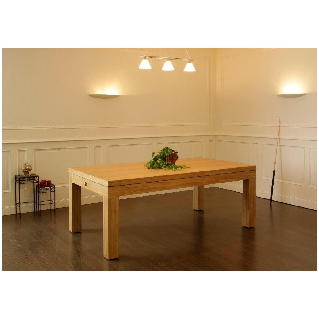 Billard convertible, table bois clair avec plateau table assorti