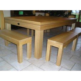 Billard transformable, table, banc et plateau en chêne naturel