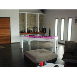 Table de billard de salon, EOS Laque blanche drap fushia